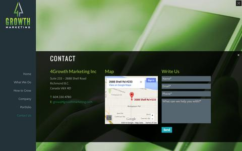Screenshot of Contact Page 4growthmarketing.com - 4Growth Marketing Inc - 4Growth Marketing - captured Oct. 7, 2014
