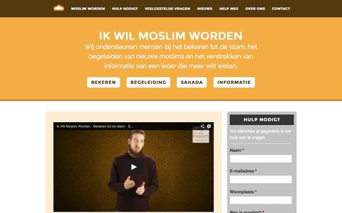 Screenshot of Home Page ikwilmoslimworden.nl - Ik Wil Moslim Worden : Bekeren tot islam - Sahada - Geloofsgetuigenis - captured Sept. 30, 2014
