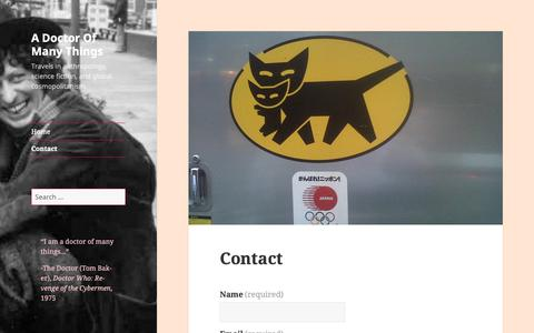 Screenshot of Contact Page wordpress.com - Contact – A Doctor Of Many Things - captured Oct. 29, 2018
