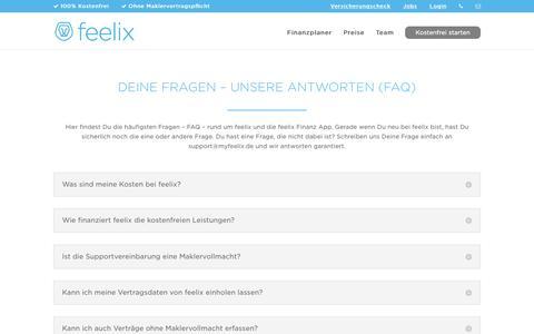 Screenshot of FAQ Page myfeelix.de - FAQ zu feelix und der feelix Finanz App - captured Nov. 25, 2016
