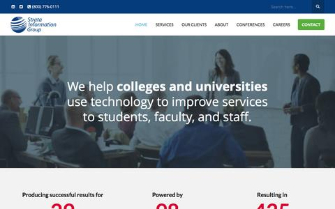 Screenshot of Home Page sigcorp.com - Strata Information Group (SIG) | IT Consulting for Higher Ed - captured Dec. 17, 2016
