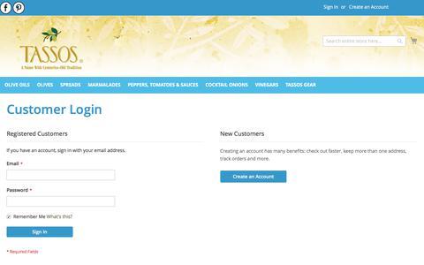Screenshot of Login Page tassos.com - Customer Login - captured Sept. 19, 2017