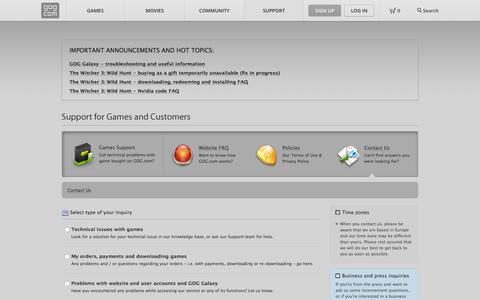 Screenshot of Contact Page gog.com - Contact Us - GOG.com - captured Dec. 2, 2015