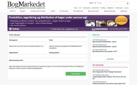 Screenshot of Signup Page bogmarkedet.dk - Opret bruger | BogMarkedet - captured June 2, 2017