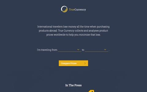 Screenshot of Home Page truecurrency.com - True Currency - captured Oct. 9, 2014