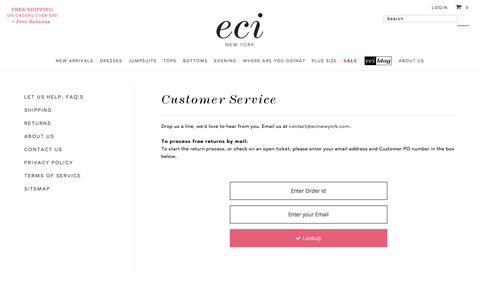 Screenshot of Support Page ecinewyork.com - Customer Service – ECI New York - captured May 11, 2017