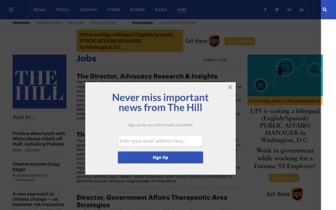 Screenshot of Jobs Page thehill.com - Jobs   TheHill - captured Dec. 16, 2016
