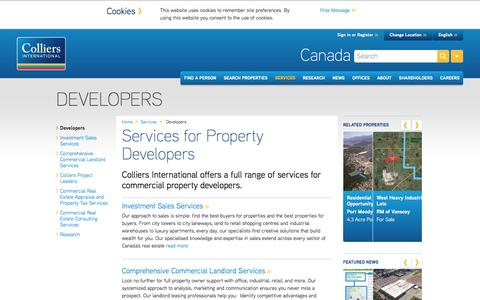 Screenshot of Developers Page collierscanada.com - Services for Property Developers | Canada | Colliers International - captured Aug. 31, 2016