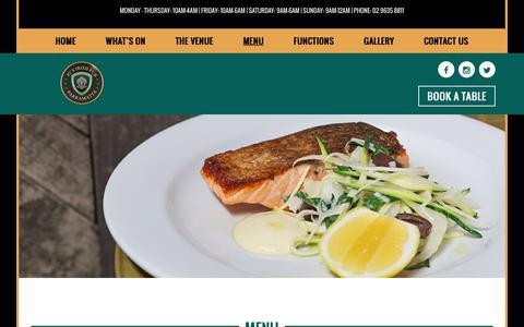 Screenshot of Menu Page pjsparramatta.com.au - Menu – PJ's Parramatta - captured Oct. 16, 2016