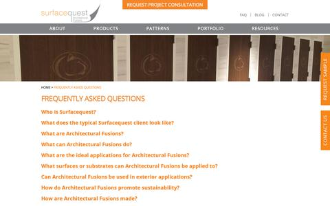 Screenshot of FAQ Page surfacequest.com - Frequent Questions - Architectural Fusions & Interior Finishes - captured Oct. 20, 2018
