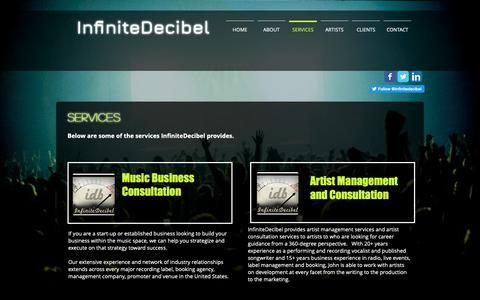 Screenshot of Services Page infinitedecibel.com - InfiniteDecibel Artist Management and Music Space Consultation   SERVICES - captured Nov. 6, 2018