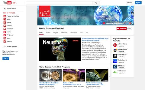 Screenshot of YouTube Page youtube.com - World Science Festival  - YouTube - captured Oct. 26, 2014