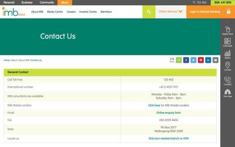 Screenshot of Contact Page imb.com.au - Contact Us - IMB Bank - captured Oct. 1, 2018