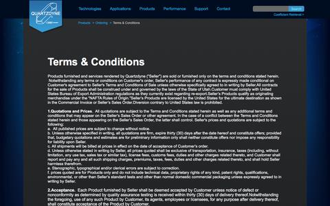 Screenshot of Terms Page quartzdyne.com - Terms and Conditions | Quartzdyne - captured Sept. 5, 2017