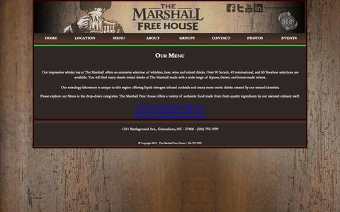 Screenshot of Menu Page marshallfreehouse.com - The Marshall Free House • 336-792-1999 : Our Menu - captured Oct. 7, 2014