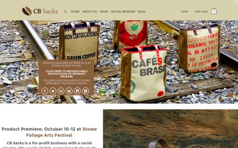 Screenshot of Home Page cbsacks.com - CB Sacks - Quality Products Made with Recycled Burlap - captured Oct. 1, 2014