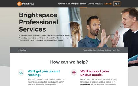 Screenshot of Services Page brightspace.com - eLearning Services & Consulting | Brightspace - Easy. Flexible. Smart. - captured Oct. 20, 2015