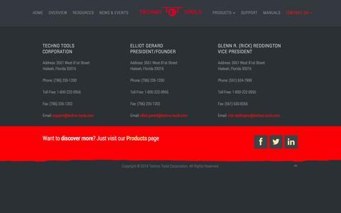 Screenshot of Contact Page techno-tools.com - Techno Tools Corporation - CONTACT US - captured Oct. 9, 2014