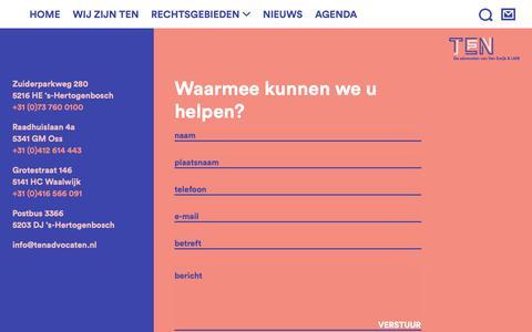 Screenshot of Contact Page tenadvocaten.nl - Contact - TEN Advocaten - captured Nov. 17, 2018