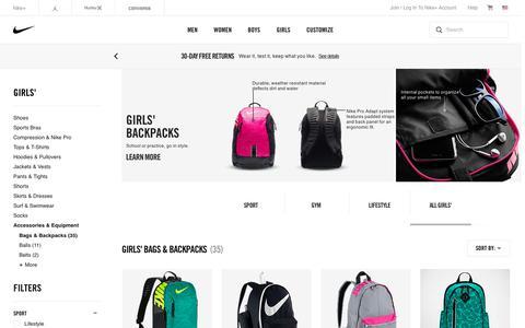 Screenshot of nike.com - Girls' Backpacks & Book Bags. Nike.com - captured Aug. 13, 2016