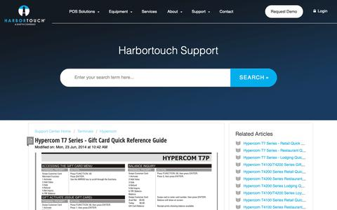 Screenshot of Support Page harbortouch.com - Hypercom T7 Series - Gift Card Quick Reference Guide : Harbortouch Support Center - captured Oct. 9, 2018