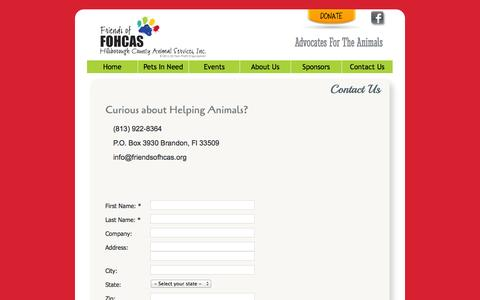 Screenshot of Contact Page friendsofhcas.org - Contact Us - captured Nov. 3, 2014