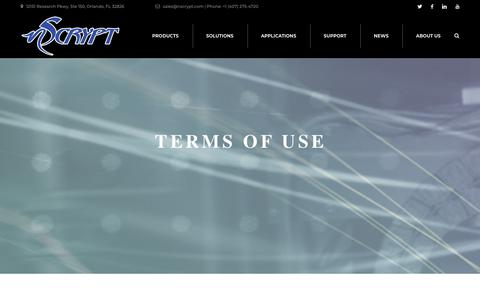 Screenshot of Terms Page nscrypt.com - Terms of Use – nScrypt - captured Nov. 18, 2018