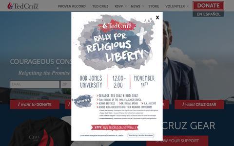 Screenshot of Home Page tedcruz.org - Ted Cruz for President - captured Nov. 3, 2015