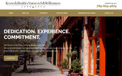 Screenshot of Home Page kenberk.com - Trusted Kansas Attorneys | Contact Us 24/7 | Kennedy Berkley Yarnevich & Williamson - captured Nov. 15, 2018
