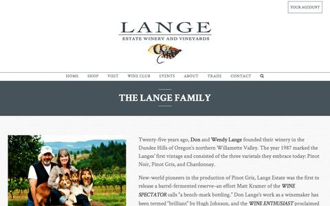 Screenshot of About Page langewinery.com - THE LANGE FAMILY - Lange Estate Winery - captured Oct. 23, 2016