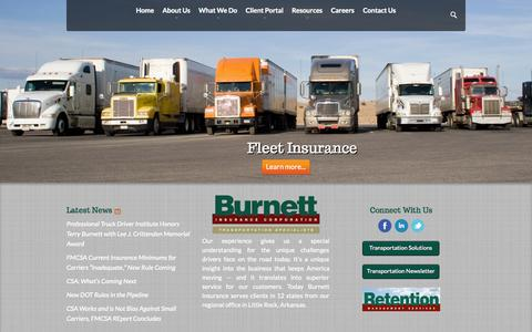 Screenshot of Home Page burnettins.com - Trucking Insurance Experts - Burnett Insurance Corporation - captured Oct. 5, 2014