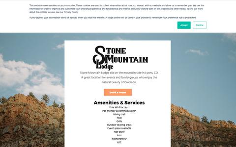 Screenshot of Home Page stonemountainlodge.com - Hotel & Wedding Venue | Lyons CO | Stone Mountain Lodge - captured Oct. 18, 2018