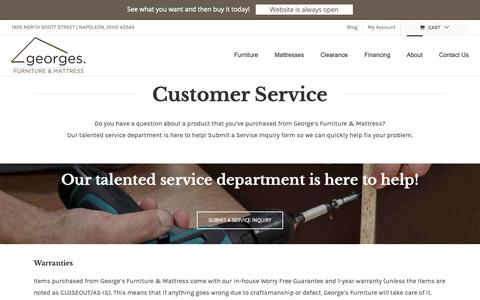Screenshot of Support Page georges-furniture.com - Customer Service – Georges Furniture & Mattress – Napoleon Ohio - captured Sept. 27, 2018