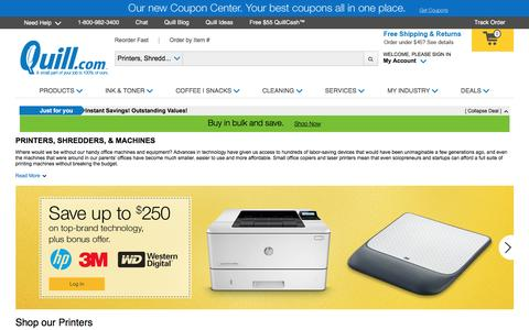Screenshot of Landing Page quill.com - Buy Printers, Office Machines & Office Equipment | Quill.com - captured Aug. 23, 2016