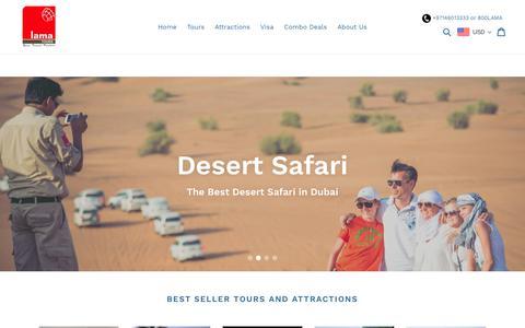 Screenshot of Home Page lamadubai.com - Dubai Destination Management Company - captured Sept. 26, 2018