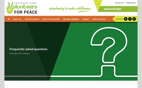 Screenshot of FAQ Page ivp.org.au - Frequently Asked Questions - International Volunteers for PeaceInternational Volunteers for Peace - captured Feb. 11, 2016