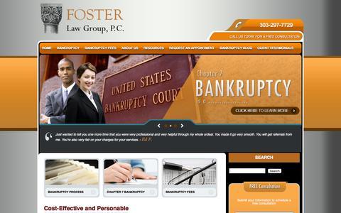 Screenshot of Home Page denver-bankruptcy-lawyer.com - Bankruptcy Lawyers & Attorneys in Denver   Foster Law Group - captured Sept. 11, 2015