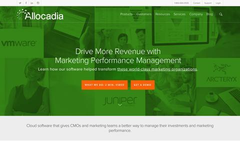 Screenshot of Home Page allocadia.com - Allocadia | Marketing Performance Management Software - captured Oct. 1, 2015