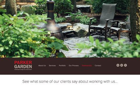 Screenshot of Testimonials Page parkergarden.com - Landscape Client Testimonials | Parker Garden Design - captured July 3, 2018