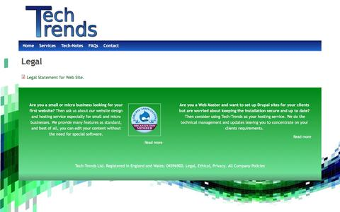 Screenshot of Terms Page tech-trends.co.uk - Legal   www.tech-trends.co.uk - captured Dec. 21, 2016