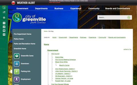 Screenshot of Site Map Page greenvillesc.gov - Greenville, SC - Official Website - captured Dec. 1, 2018