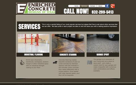 Screenshot of Services Page ecd-texas.com - Flooring Services The Woodlands, Spring - Epoxy, Acid Stain & Sealants - captured Nov. 8, 2016