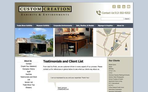 Screenshot of Testimonials Page customcreation.com - Testimonials and Client List :: Custom Creation - captured Sept. 30, 2014