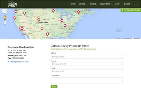 Screenshot of Contact Page Locations Page west-inc.com - Locations - Western Ecosystems Technology, Inc. - captured Oct. 24, 2014