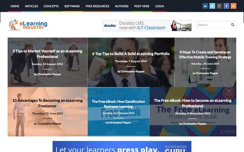 Screenshot of Home Page elearningindustry.com - eLearning Industry - Post your eLearning article. At eLearning Industry you will find the best collection of eLearning articles, eLearning concepts, eLearning software, and eLearning resources. - captured Sept. 18, 2014