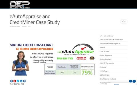 Screenshot of Case Studies Page dealereprocess.com - Sweeney Chevrolet eAutoAppraise and CreditMiner - captured June 23, 2018