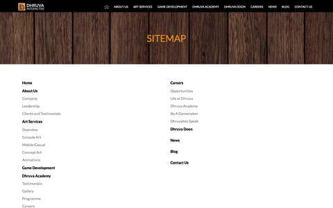Screenshot of Site Map Page dhruva.com - Game Art Development | Mobile Game Development Outsourcing | 3D Game Art Outsourcing Company | Video Game Outsourcing in India - Dhruva Interactive - captured April 18, 2018
