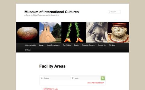 Screenshot of Locations Page internationalmuseumofcultures.org - Facility Areas | Museum of International Cultures - captured Sept. 19, 2018