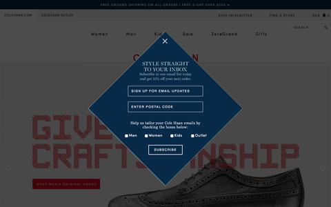 Screenshot of Home Page colehaan.com - Cole Haan : Shoes, Bags & Accessories for Men, Women & Kids - captured Dec. 10, 2015