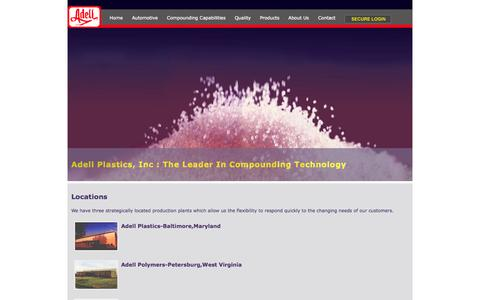 Screenshot of Locations Page adellplas.com - Adell Plastics - The Leader in Compounding - captured Oct. 4, 2014